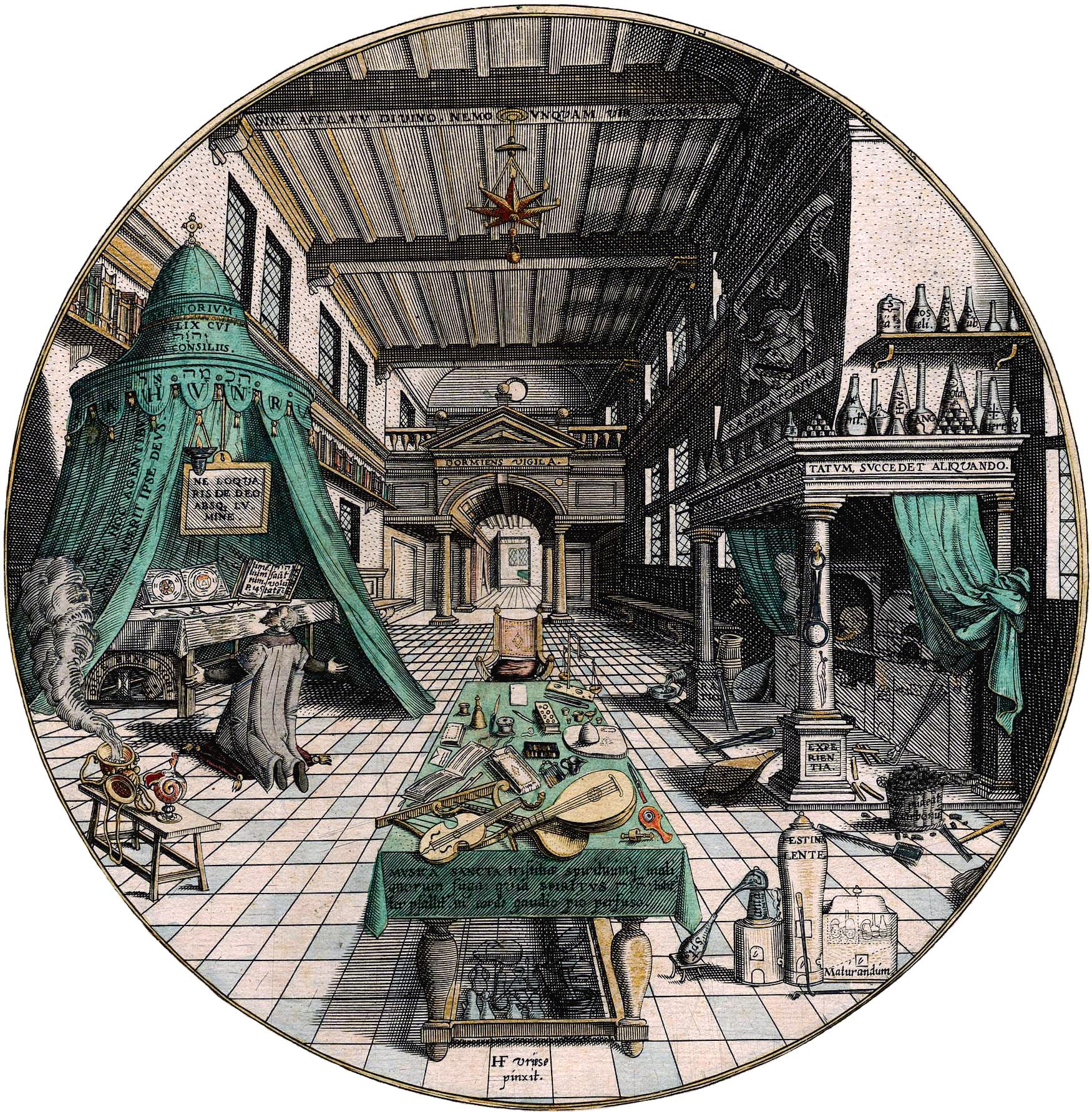 Иллюстрация «Лаборатория алхимика» из трактата «Amphitheatrum sapientiae aeternae»